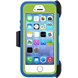 Otterbox Defender Case with Holster Clip for Iphone 5s & Iphone 5 - Retail Packaging - (Ocean Blue/glow Green)
