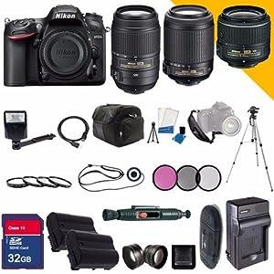 Nikon D7200 DX-Format DSLR Digital Camera Body, Nikon 18-55mm VR II Lens, Nikon 55-200mm IF AF-S DX VR, Lens + 55-300mm ED VR AF-S DX Nikkor Zoom Lens