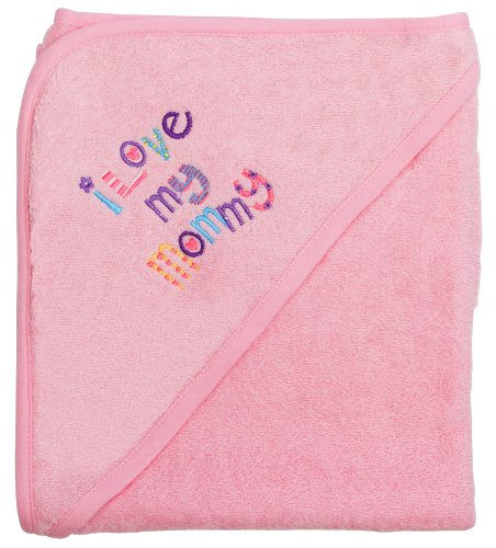 "Extra Large 40""x30"" Absorbent Hooded Towel, I Love My Mommy (Light Pink), Frenchie Mini Couture"