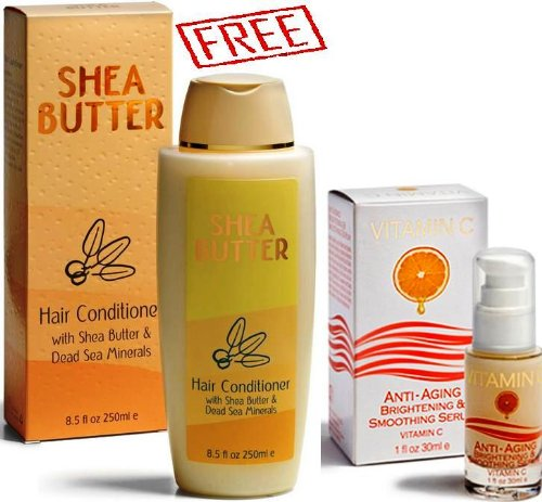 Spa Cosmetics Sale Vitamin C Anti-Aging Brightening & Smoothing Serum + Shea Butter Conditioner With Dead Sea Minerals For Free!!!