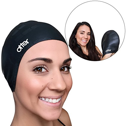 Otter Premium Silicone Adult Swim Cap for Long Hair - PLUS Nose Clip Included - The Industries #1 Swimming Caps for Men and Women (Swim Long Hair Nose Clip compare prices)