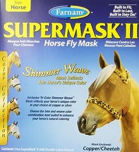 Farnam Supermask II Fly Mask Eye Care for Horse, Copper Mesh/Cheetah Trim