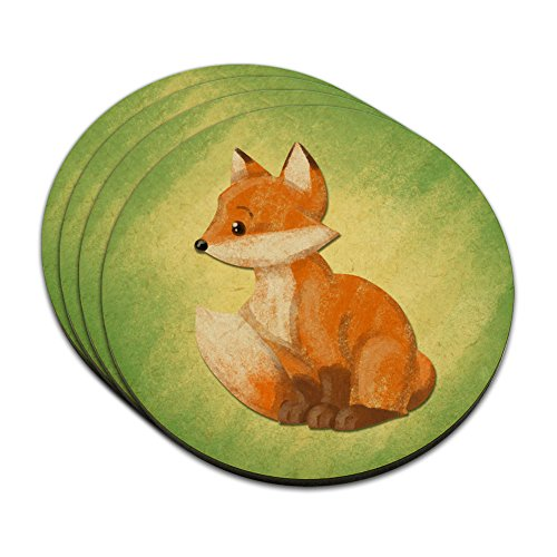 Pastel Cute Fox MDF Wood Coaster Set of 4