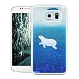 KAWOO 3D Bling Shiny Glitter Sparkle Stars Flowing Floating Liquid Quicksand Clear Hard Case Cover for Samsung Galaxy S7 Blue polar bear