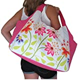 LARGE BEACH BAG Pink With Multi Flowers (H)33cm x (W)51cm x (D)23cm