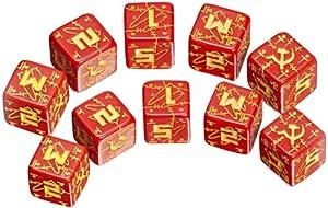 Q-Workshop: Five d6 Dice - Battle Dice - WW II D6 Soviet (USSR) Red & Yellow