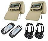 Zone Tech Headrest 7 LCD Car Monitors with Region Free DVD Player USB Sd Inc. Wireless Headhones and 32 Bit Games (Beige, Pair)