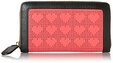 Orla Kiely Punched Love Heart Big Zip Wallet,Red,One Size