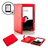 Forefront Cases Leather Case Cover Wallet with Screen Protector for Amazon Kindle 4 - Red
