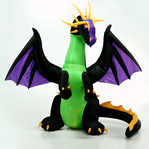Halloween Inflatable Led Lighted 9' Giant Animated Purple Dragon with Green Projection Kaleidoscope Chest Gemmy Outdoor Yarde Prop Decoration