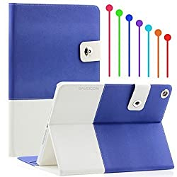 SAVEICON Roya Blue Hybrid iPad Air / iPad 5 PU leather Case Cover with Card Slots Auto Wake / Sleep Smart Cover Book Shell Stand for Apple iPad Air iPad Wifi 3G 4G LTE with Built-in Stand