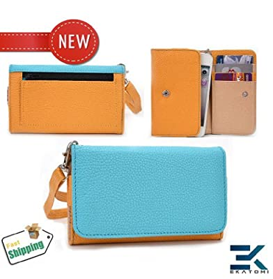 Samsung Galaxy Mini S5570 Case - BLUE & MUSTARD YELLOW | Women's PU Leather Wallet Phone Clutch Wrist-let. Bonus Ekatomi Screen Cleaner