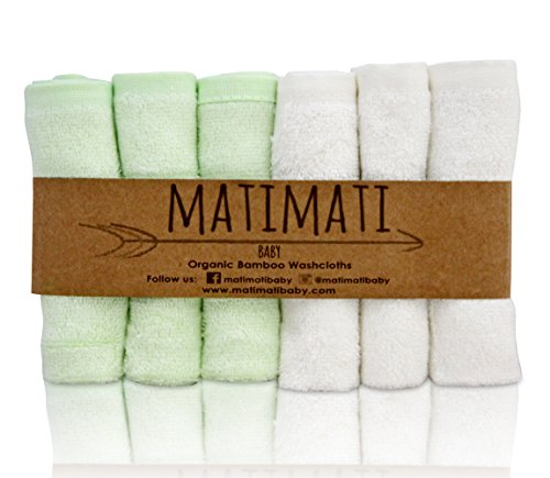 Matimati Bamboo Baby Washcloths (6-pack) - Premium Extra Soft & Absorbent Towels For Baby's Sensitive Skin - Perfect 10