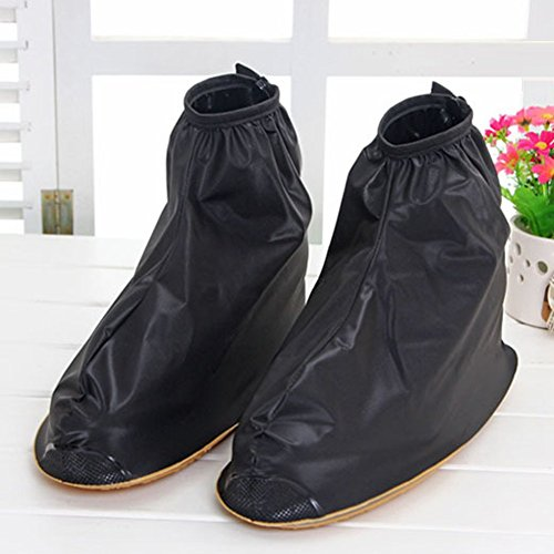 Benran Rain Shoe Covers Shoes Overshoes Boot Gear Zippered Shoes for Men and Women (Black, 34.5cm) (Bicycle Rain Gear For Men compare prices)