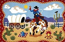 3X5 Rug Ride Southwest Cowboy Texas Southwestern Red 3\'3\