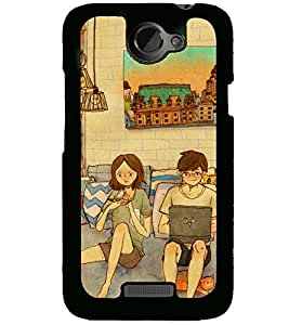 Printvisa living room scene of a couple Back Case Cover for HTC One X::HTC One XT::HTC 1X
