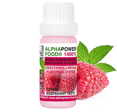 ALPHAPOWER FOOD® - ALPHAPURE® SERIES: Vegan Aroma 1400%* Flavouring System, Flavour Drops and Sweetener ohne Zucker, (1 x 10 ml Geschmack Forest Raspberry Taste, Himbeere) Liquid in einer Aromen Schutzglasflasche, Flavoring System, Geschmacks tropfen ohne Kalorien, Backaroma