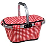 DII Insulated Market Basket or Picnic Tote for Perfect for Summer Picnics, Farmers Markets and BBQ's, Grocery Shopping Checkered, Red/White