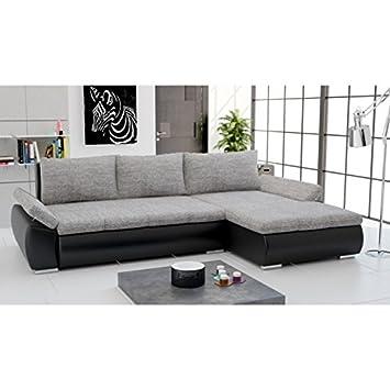 Canapé d'angle convertible CARMEN - Gris noir