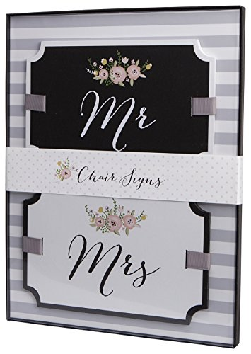 C.R. Gibson True Love Wedding Chair Signs, Mr. and Mrs., Set of 2