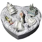 Set of 6 Noble Gems Blown Glass Newlywed Wedding Anniversary Christmas Ornaments