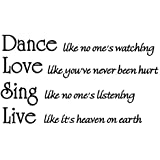 Dance Like No One's Watching Vinyl Wall Art Lettering Quotes Wall Decal