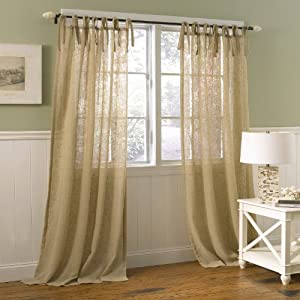 Laura Ashley Danbury Tie Top Window Treatment Panel, 40 by 84-Inch, Oatmeal