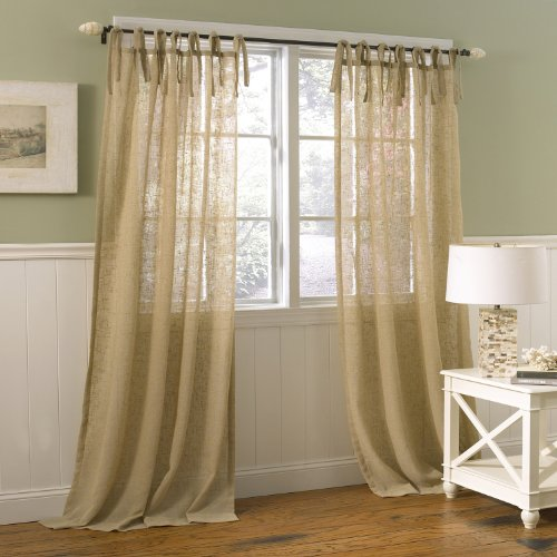 Laura Ashley 9937 Danbury Tie Top Window Treatment Panel, 40 by 84-Inch, Oatmeal (Burlap Curtain Panels compare prices)