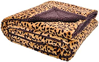 Sleeping Partners Cheetah Print and Sherpa Plush Throw Blanket