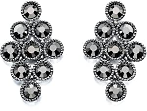 Fiorelli Costume Collection for Ladies with Silver Moving Earrings with Hematite Stones E4663