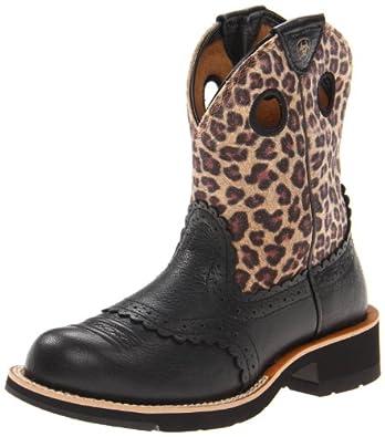 Ariat Women's Fatbaby Cowgirl Boot,Black Deertan/Leopard Print,5.5 M US