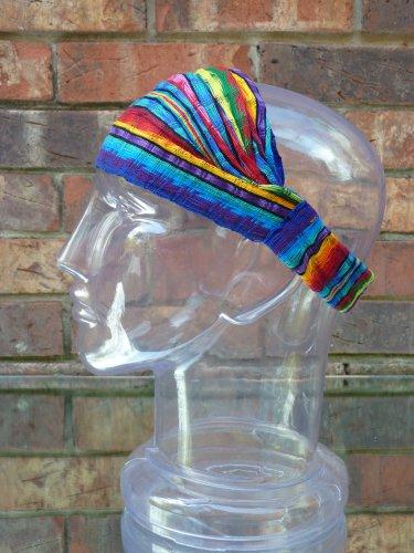 Medium Jewel Tone Head Band Hair Scarf Expandable Hand Woven Cotton Head Wrap front-521152