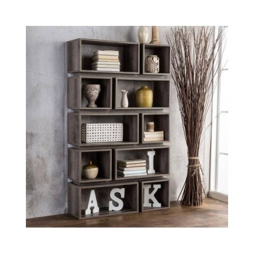 Furniture of America Cassidy Tiered Distressed Grey 10-Shelf Open Bookcase 0