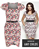 Womens Amy Childs Floral Print Wrapover Fitted Shift Dress Ladies
