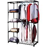 Homdox Portable Double Rod Closet Wardrobe Clothes Organizer Storage