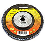Forney 71933 Flap Disc, Type 29 Blue Zirconia with 5/8-Inch-11 Threaded Arbor, 120-Grit, 4-1/2-Inch