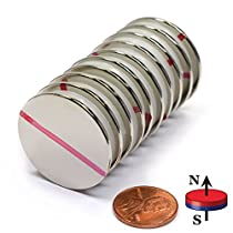 CMS Magnetics Grade N45 Powerful Disc Neodymium Magnets, 1.26
