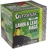 """Aluf Plastics 769646 Ultrasac Heavy Duty Professional Quality Lawn and Leaf Trash Bag, 39 Gallon Capacity, 43"""" Length x 33"""" Width, Black (Case of 100)"""