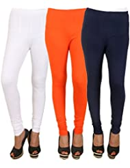PRO Lapes Cotton Lycra Churidar Legging Set Of 3 - B01DJ3Q6RK