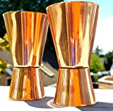 Drinkware Essentials Double Jigger Shot Glasses. Set of 2 100% Pure Copper 2-Sided Jiggers Measure 1.5 ounce and 3 ounce volumes (1.5oz, 3oz). Mix Perfect Craft & Classic Cocktails At Your Next Party!
