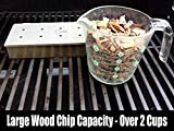Barbecue Grill Brush + Smoker Box for BBQ Wood Chips - 25% THICKER STAINLESS STEEL WON'T WARP - Charcoal & Gas Meat Smoking with Hinged Lid - Best Grilling Accessories & Utensils by Cave Tools