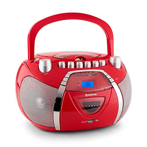 auna Beeboy radio portatile boombox (mangianastri per cassette, lettore CD, porta USB-5V, sintonizzatore radio FM, registratore cassette) - rosso