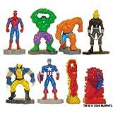 Marvel Super Hero Mini Figure Set - Set Of 8 Vending Machine Toys - Spiderman Ghost Rider Thing Hulk Captain America...