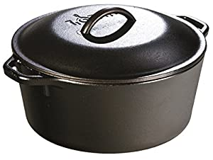 Lodge L8DOL3 Pre-Seasoned Cast-Iron Dutch Oven with Dual Handles, 5-Quart
