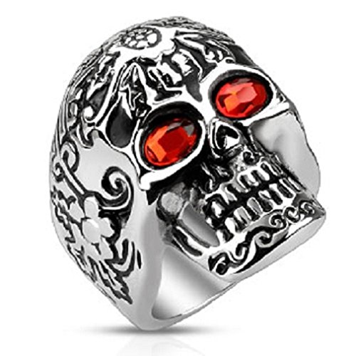 Men's Stainless Steel Day of the Dead Skull Ring