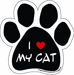 Imagine This Paw Car Magnet, I Love My Cat, 5-1/2-Inch by 5-1/2-Inch