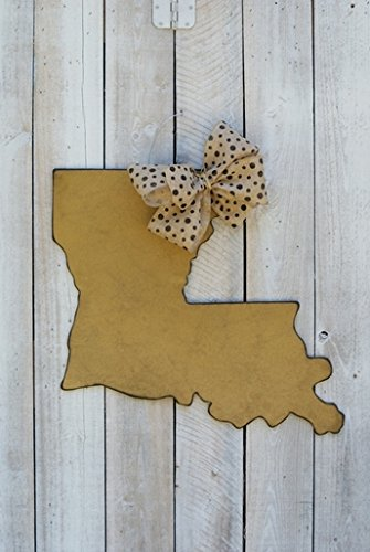 "Antique Gold Louisiana State Door Hanger with Black Polka Dot Burlap Bow. 23.5"" By 21""."