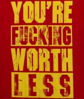ジョークTシャツ YOU'RE FUCKING WORTHLESS レッド (Mサイズ)
