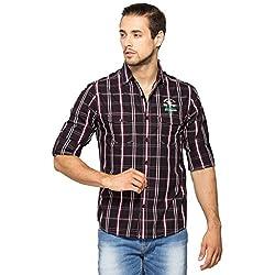 SPYKAR Men Cotton Wine Casual Shirt (X-Large)