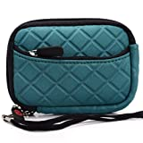 Green Quilted Neoprene Sleeve Carrying Case with Front Zipper Pocket for Disney Princess Digital Point & Shoot Camera + EnvyDeal Velcro Cable Tie